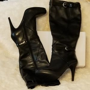 Nine West Black Leather Knee-Hi Boots in size 7M
